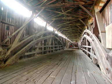 Inside of covered bridge