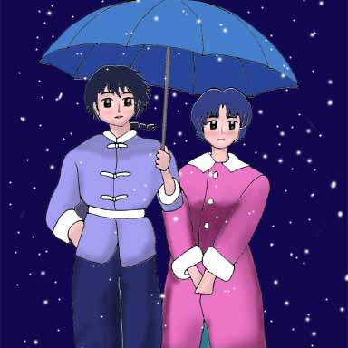 Ranma and Akane, Umbrella in Snow